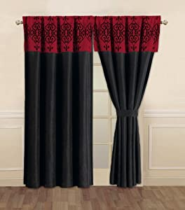 Com catherine black and red curtain set window treatment curtains