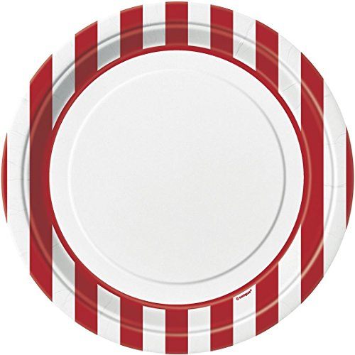 Red and White Stripes Large Paper Plates (8ct) - 1