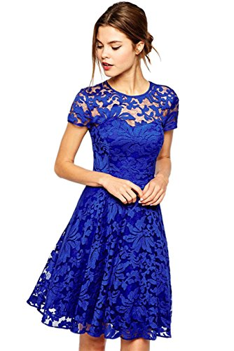 Amoluv Women Round Neck Short Sleeve Pleated Lace Slim Dress Blue Large