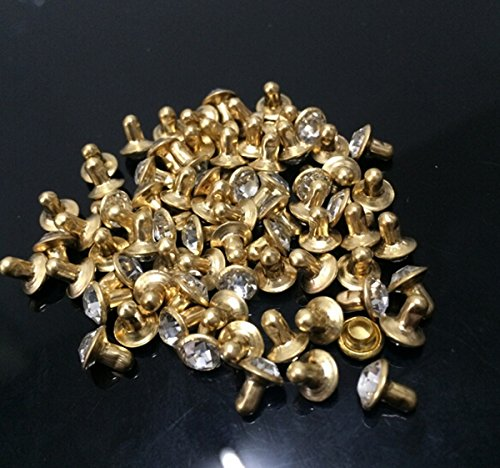 CHENGYIDA 300 Set 6mm Crystal Rhinestones Metal Base Rapid Rivets Studs,Decoration Findings For Clothing Crafting,Leather (Gold Color Plated + Clear Crystal) (Crystal Clothing compare prices)