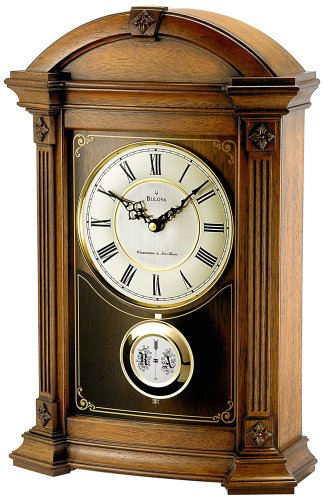 Allerton Mantel Clock w Fluted Pilasters & Carved Accents- Bulova