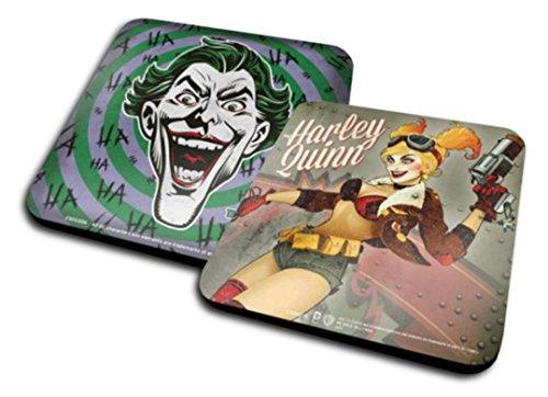 Set di 2 Sottobicchieri: Harley Quinn - Dc Bombshells + The Joker, Hahaha (10x10 cm)
