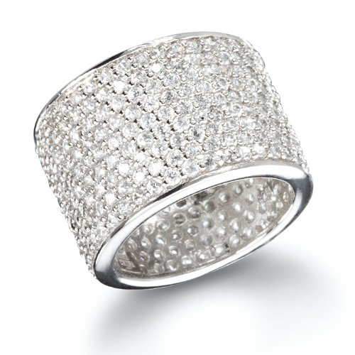 White CZ Micro Pave Wide Eternity Band Ring