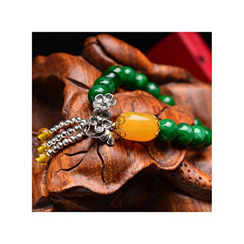 The Starry Night Natural Stem Green Jade Gold Foil Silver Tassel Pendant Flower Beaded Wax Bead Bracelet (Buddy Pen Vaporizer compare prices)