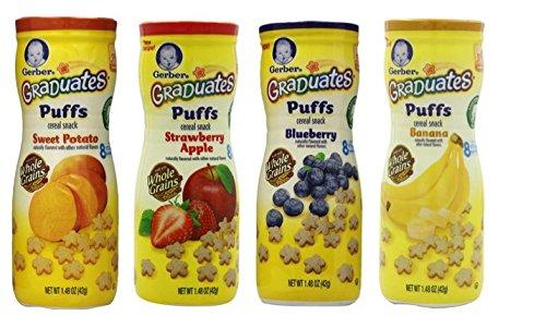 Gerber Graduates Apple Strawberry, Banana, Sweet Potato, Blueberry Puffs /pack of 4 1.48oz - 1