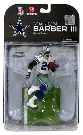 MARION BARBER III Blue Glove CHASE VARIANT #24 Dallas Cowboys Football Figure by McFarlane Toys NFL 2008 Wave 3 w/ WHITE JERSEY series 19 at Amazon.com