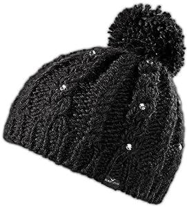 Black Canyon Damen Strickmütze Beanie mit Glitzerperlen und Bommel, schwarz, BC1117