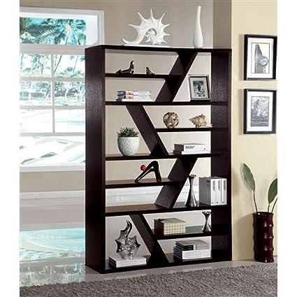 Mwave IDF-AC118 Donnia Open Zig Zag Bookshelf, Material: Wood, wood veneers, metal, Finish: Espresso