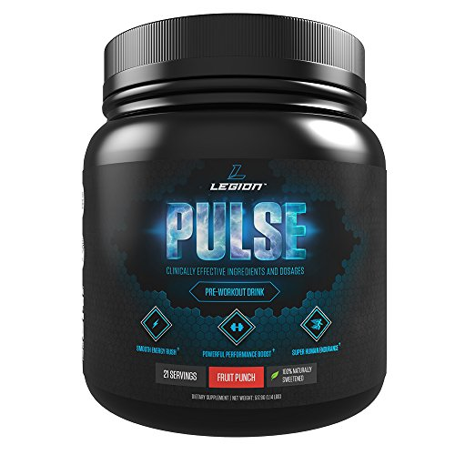 Legion Athletics LEGION Pulse - Best Natural Pre Workout Supplement for Women and Men, Powerful Nitric Oxide Pre Workout, Effective Pre Workout for Weight Loss, Top Pre Workout Energy Powder - Fruit Punch, 1.14lbs