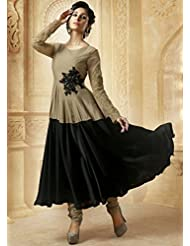 Beige With Black Cotton Satin Embroidered Anarkali
