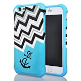 Iphone 6 Case, Meaci® Cell Phone Case for Iphone 6 (4.7 Inch) Case 2 in 1 Combo Hybrid Hard Pc & Rubber Case Dual Layer Bumper with Smooth Exquisite Rescue Wave Anchor Pattern Protective Case - Blue Rubber