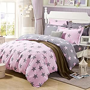 lt twin full queen size 100 cotton pink gray twinkle stars bedding sets comforter. Black Bedroom Furniture Sets. Home Design Ideas