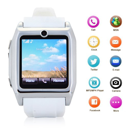 Excelvan® 1.54'' Touch Screen Smartwatch Mobile Phone Watch+Daul Bluetooth Smartwatch Sync Mp4 Phonebook Sms For Samsung Galaxy S5 Note3 , Htc One, Sony Xperia Z2, Lg G3 Smart Phone Android/Iphone White