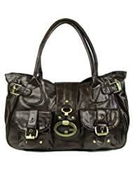 Womens Brown Vintage Shoulder Handbag