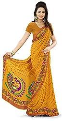 Design Willa Smooth feel Art crepe Sari (DWPC054,Yellow)