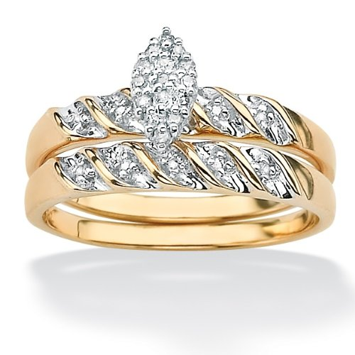 Tutone 10k Gold Diamond Wedding Ring Set