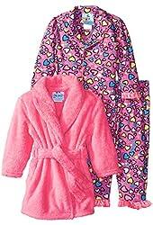 Baby Bunz Baby Girls' 3 Piece Hearts Robe and Pajama Set