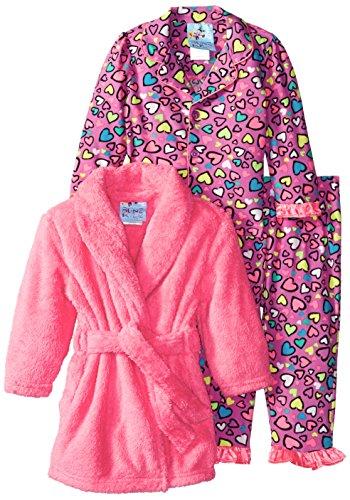 Baby Bunz Baby Girls' 3 Piece Hearts Robe and Pajama Set, Pink, 12 Months