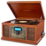 Crosley Troubadour Vintage Style Entertainment Centre for Vinyls/CD/SD Card/Cassette/USB - Brown