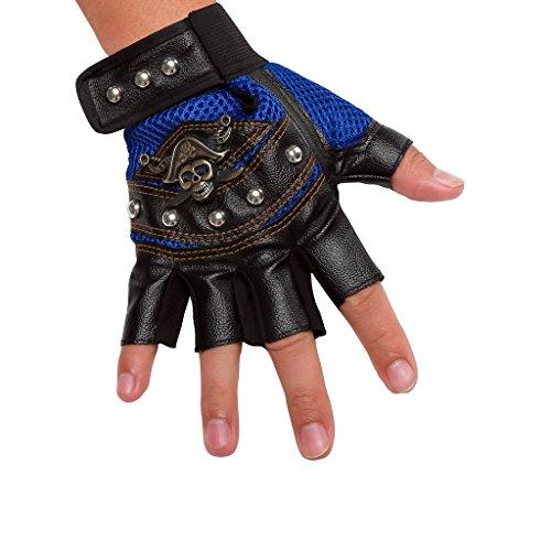 INRED Men's Studded Faux Leather Mesh Punk Gothic Hip-hop Fingerless Skull Gloves
