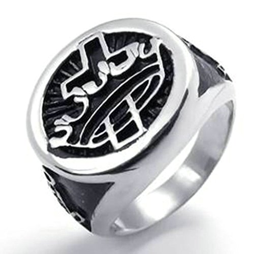 Stainless Steel Ring for Men, Round Ring Gothic Black Band Silver Band 22MM Size 12 Epinki
