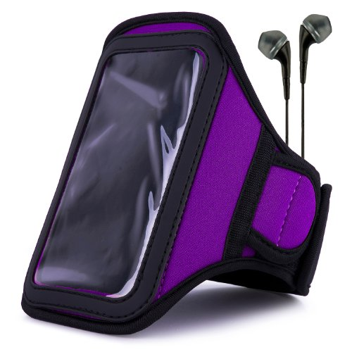 Vangoddy Armband - Purple Plum Neoprene Sweat-Proof W/ Key & Id Card Pouch For Apple Ipod Touch 5 Retina Display + Black Handsfree Microphone Headphones
