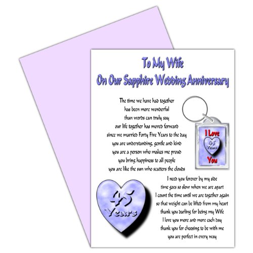 Wife 45th Wedding Anniversary Card With Removable Keyring Gift - 45 Years - Our Sapphire Anniversary