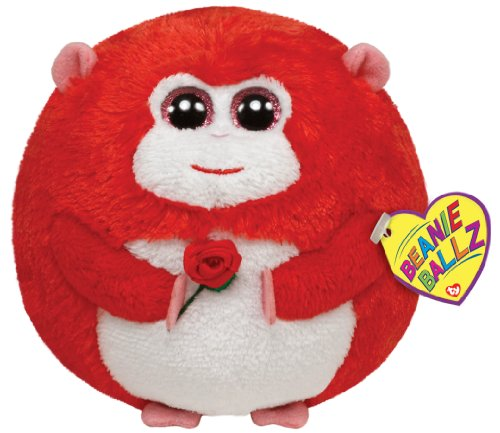 Ty Beanie Ballz In Love Monkey with Rose Plush - 1
