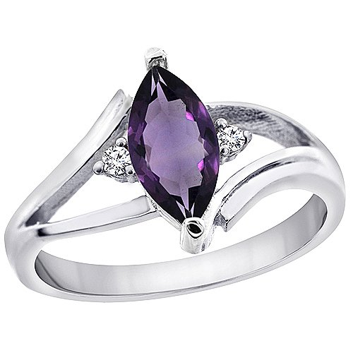 Revoni 9ct Yellow or White Gold Natural Amethyst Ring Marquise 10x5mm Diamond Accent,