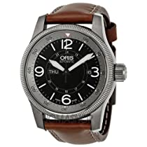 Oris Big Crown Timer Black Dial Brown Leather Automatic Mens Watch 735-7660-4264LS