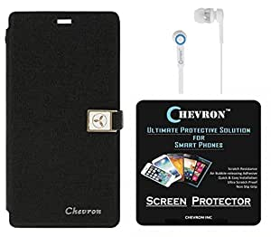 Chevron Royal Armour Flip Cover With Stand Mode for Motorola Moto X Style with HD Screen Guard & Chevron 3.5mm White Stereo Earphones (Black)
