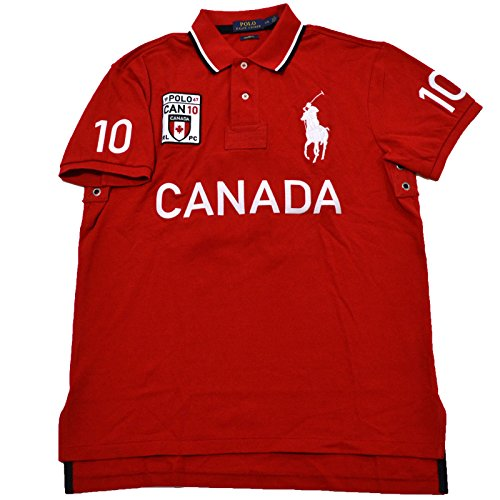 Polo Ralph Lauren Mens Big Pony Country Custom Mesh Polo (Canada Red, Large) (Canada Customs compare prices)