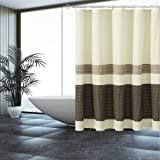 Fabric Shower Curtain Ivory,Beige,Mocha with Pintuck Design