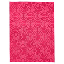 6\'x9\' Durable and Stain-Resistant,Garland Peace Sign Rug for Kids Bedroom or Playroom-Bright Pink