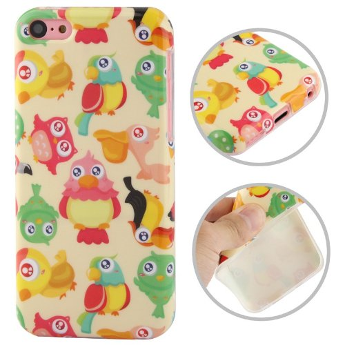 JUJEO Cartoon Lovers Pattern TPU Protective Case for iPhone 5C - Non-Retail Packaging - Multi Color