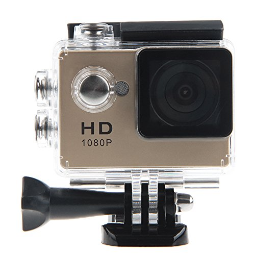 Padgene Full HD 1080P Sport Videokamera Camera Camcorder Action DVR Outdoor Wasserdichte Hülle (Gold)