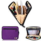 BUBM Portable Universal Electronics Accessories Travel Organizer /Ipad Case / Cable Organizer Bag (Purple)