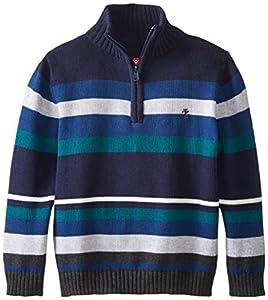 Izod Little Boys' Long Sleeve Stripe 1/4 Zip Sweater, Peacoat, 7X
