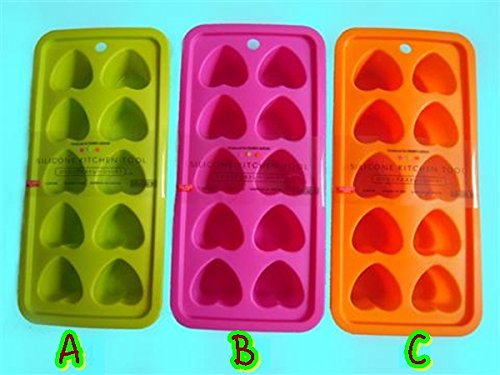Silicone Ice Cube Trays Chocolate Mold Heart Shape (Pack of 3) (22 X 11 X 4 cm.) Green Pink Orange Color (Random Color) Frigidaire Quickube (Frigidaire Toaster Oven Parts compare prices)