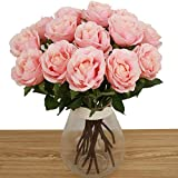 Bringsine High Quality Artificial Flowers, Real Touch Pu Flowers Silk Artificial Rose Flowers Home decorations for Bridal Wedding Bouquet, Birthday Flowers Bunch Hotel Party Garden Floral Decor Pink