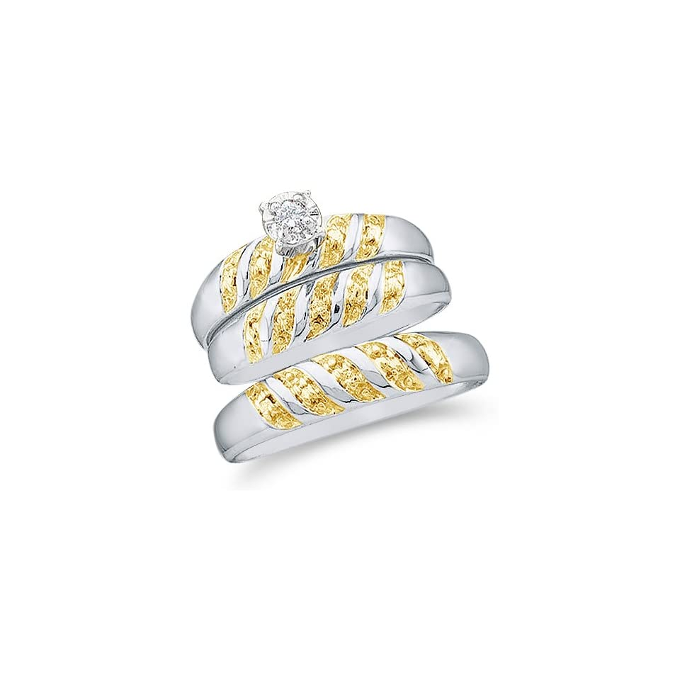 """10k White and Yellow 2 Two Tone Gold Mens and Ladies Couple His & Hers Trio 3 Three Ring Bridal Matching Engagement Wedding Ring Band Set   Round Diamonds   Solitaire Center Setting (.07 cttw)   SEE """"PRODUCT DESCRIPTION"""" TO CHOOSE BOTH SIZES"""