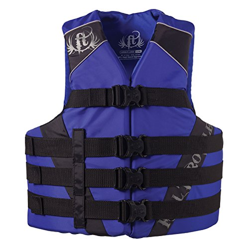 Full Throttle Adult Dual-Sized Nylon Water Sports Vest, Blue, Small/Medium