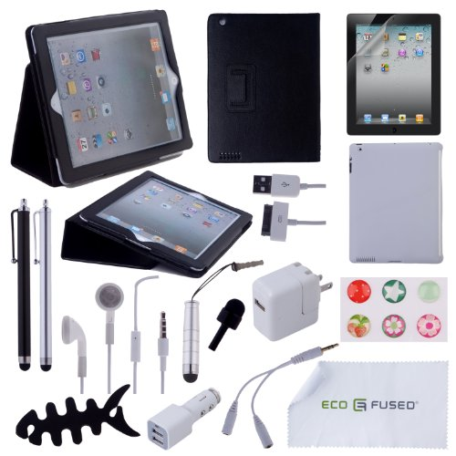 ECO-FUSED Accessory Bundle 15 pcs iPad 2 / Black Leather Stand Case / TPU Case / Earphones / Stylus Pens / Chargers - Microfiber Cleaning Cloth Included