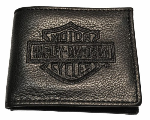 Harley Davidson® Men's Black Bi-Fold Textured Leather Dress Wallet. Inside Flip Panel. Harley Bar & Shield. FB808H-2B