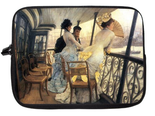 17 inch Rikki KnightTM James Tissot Art The Gallery of the H.M.S. Calcutta Laptop Sleeve