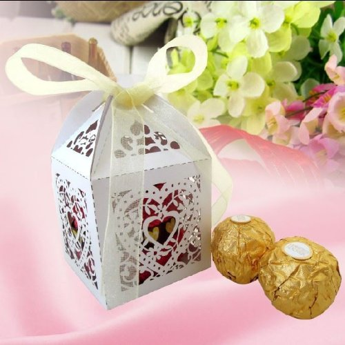 12 x Box Heart design wedding favour sweets box decoration with FREE satin ribbon