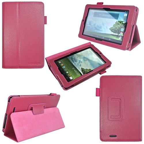 i-design Asus MeMO Pad 7 inch Tablet Premium Leather Case with Flip Stand, Stylus Loop (Asus MeMO Pad 7, Magenta) Reviews