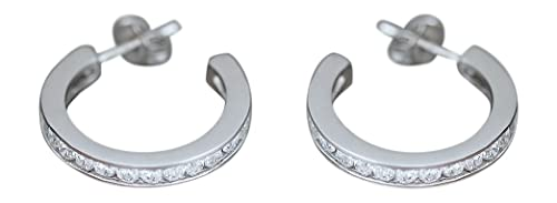 Hobra Creole Earrings 585 White Gold with Cubic Zirconia - Weissgol Dcreolen