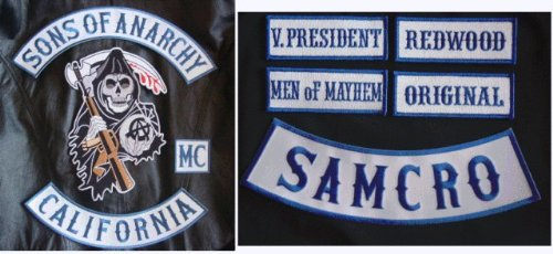 SOA Patch Set Anarchy 9 Patches Combo Full Front and Back Samcro Blue