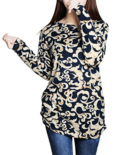 Allegra K Ladies Novelty Prints Long Sleeves Pullover Tunic Knit Top Beige L (Allegra Clothing For Women compare prices)